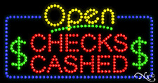 """New """"Open Checks Cashed"""" 32x17 Solid/Animated Led Sign W/Custom Options 25483"""