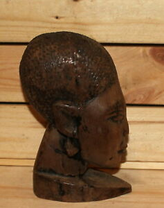 Vintage African hand carving wood woman bust figurine
