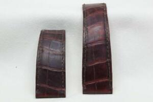 Cartier Burgandy Leather Crocodile Deployment Watch Strap - 22 / 18mm
