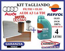 KIT TAGLIANDO OLIO MOTORE ERG REPSOL 5W30 4LT + FILTRI AUDI A3 1.6 TDI