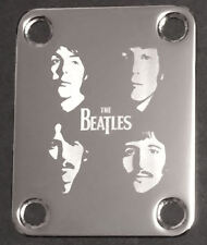 Engraved Photo Etched GUITAR NECK PLATE - THE BEATLES Faces - Chrome