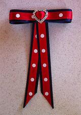 Junior Rider Equestrian Hair Ribbon Bow - Red & Navy Satin *New*