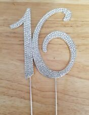 Sweet 16 Birthday Party Cake Topper with Silver Crystal Rhinestones