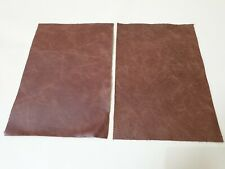"""Rustic Light Tan 9""""x6"""" Top Quality 100% leather 2 offcuts  1.1mm Craft patch"""