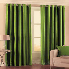 Luxurious Faux Silk Curtains Ready Made Eyelet Top Fully Lined with Tie Backs GC