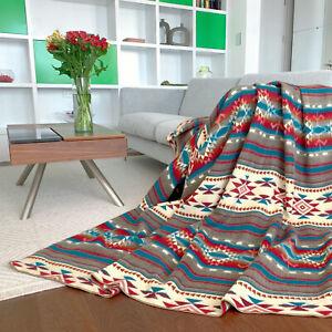 SALE!!! HUGE SOFT & WARM ALPACA WOOL BLANKET NATIVE AMERICAN AZTEC 190x232 cm