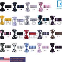 BT2115 Orange Striped Stock Presents Silk Pre-tied Bow Tie Cuff Hanky Set Epoint