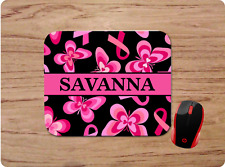 BREAST CANCER RIBBON BUTTERFLY personalized W/ name MOUSE PAD HOME OFFICE GIFT
