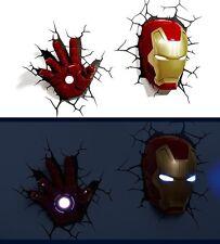正版 Marvel Avengers鐵甲奇俠頭+手一套LED 3D牆燈