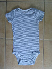 Carter's Boys Baby Short Sleeve White Striped Bodysuit Pajamas Creepers 12 M