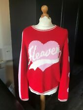 Oui Designer Heaven Heart Long Sleeve Crew Neck Pullover In Red Size 8 BNWT