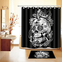 "60/72/79"" Halloween Floral Skull Waterproof Polyester Shower Curtain &Hook 2672"