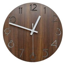 12 inch Creative Wall Clock Vintage Wooden Numeral Design Rustic Country LARGE