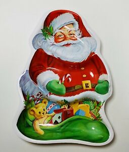 "Vintage Plastic Santa Three Compartment Candy Cookies Treats Tray Decoration 13"""