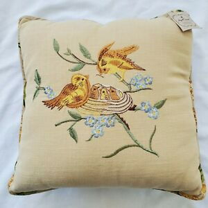 Vintage April Cornell Embroidered Birds Yellow Maroon Green 16x16 Cushion