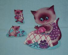 1973 Kiddie Products Inc - Mother Cat Tea Party w/2 Kittens Wall Hangings - EUC!