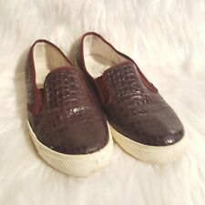 Womens TOPSHOP Plum loafers faux crocodile slip ons sz. 6.5/37