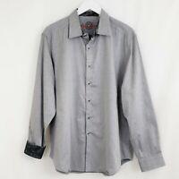 ROBERT GRAHAM Men's Gray Flip Cuff Button Down Long Sleeve Shirt Career XL