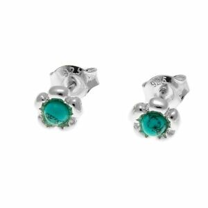 Turquoise and Sterling Silver Flower Shape Stud Earrings