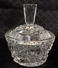 Vintage Glass Trinket Box Lidded Vanity Pot  Art Deco