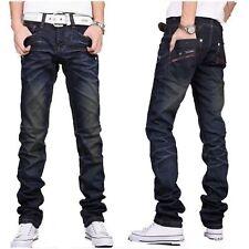 Mens Denim Jeans Regular Fit Distressed Faded Designer Stylish Trouser Pants
