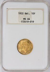1922-B Switzerland Gold 10 Francs NGC MS 64