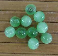 10 perles rondes en verre oeil de chat  8 mm couleur vert-pvc082