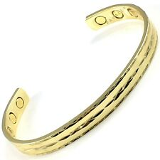 MAGNETIC BRACELET bangle 6 MAGNETS gold tone carpal tunnel arthritis pain relief