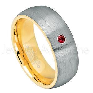 Mens 2-Tone Dome Tungsten Ring, 0.07ct Garnet Ring, January Birthstone Ring #738