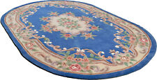LARGE LIGHT BLUE CHINESE AUBUSSON HAND TUFTED RUGS IN Oval 9'.6'' X 6'.3''
