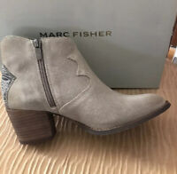 NIB MARC FISHER WOMEN'S STEFANI LOW BOOT BOOTIES LIGHT NATURAL SUEDE  SIZE 7.5 M