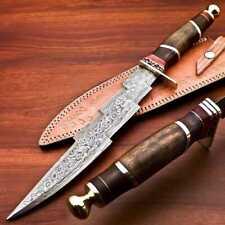 CUSTOM HANDMADE DAMASCUS STEEL KRIS BLADE TRI-DAGGER HUNTING KNIFE WITH SHEATH