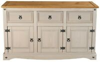 Corona Grey 3 Door 3 Drawer Large Sideboard - Mexican Solid Pine