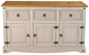 Corona Grey 3 Door 3 Drawer Large (132cm) Sideboard - Mexican Solid Pine