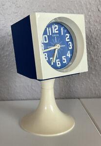 Europa Wecker Tischuhr Blau Tulpenfuss Space Age 70er Tischuhr Tulip Panton Ära