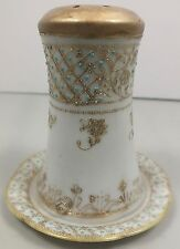 Hand Painted Nippon Hatpin Holder W Blue Moriage & Gold Decoration & Under Tray