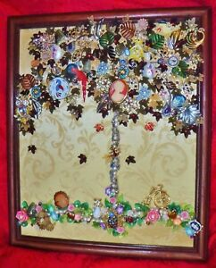Vintage Jewelry Art Autumn Tree of Life, Framed & Signed