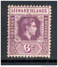 LEEWARD ISLANDS,1938 6d (chalky paper) deep & bright purple VFU, SG109 (D)