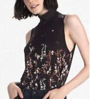 LUCKY BRAND 7W63367 Mock Neck Floral Top Blouse - Women's Size Small S - NWT $60