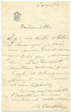 French Painter Philippe Rousseau Autograph Letter Signed