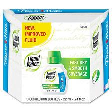 """""""Liquid Paper Fast Dry Correction Fluid, 22 Ml Bottle, White, 3/pack"""""""