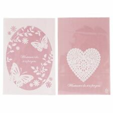 Pink Clear Fronted Cellophane Cookie Bags - Heart Butterfly Lace Confectionery