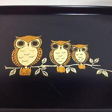 Otagiri Trays (Lot Of 4) Owls Foil Black Melamine Japan
