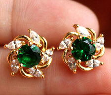 18K Yellow Gold Filled - Windmill Emerald Topaz Gemstone Women Party Earrings