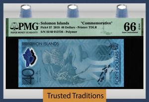 TT PK 37 2018 SOLOMON ISLANDS 40 DOLLARS COMMEMORATIVE PMG 66 EPQ GEM UNC!
