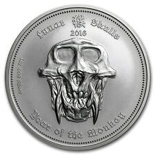 2016 Republic Of Palau - Year Of The Monkey - 1 oz Silver BU Lunar Skulls Coin