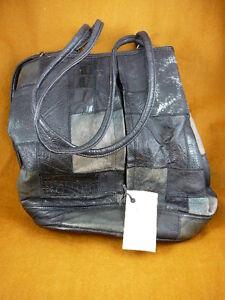 EL30-3) BLACK PURSEGenuine wildebeest croc warthog impala exotic Leather Handbag