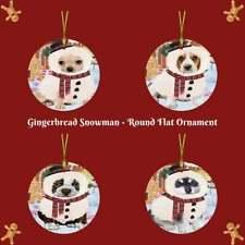 Gingerbread Snowman Dog Cat Round Flat Christmas Tree Ornament Gift Decor