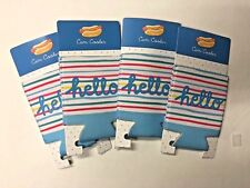 Lot of 4 hello striped can coolers Koozie party favor summer Bbq pool party