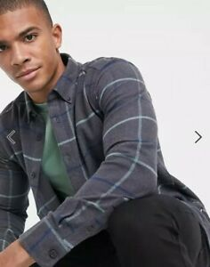 Only & Sons Check Overshirt In Large Check Grey - Size S Small - New